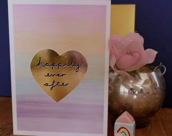Happily Ever After Hand Painted, Gold Foiled A6 Greetings Card, Blank Card, Wedding Card, Rainbow Card, Gay Wedding Card,Civil Ceremony Card