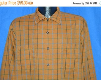 ON SALE 50s McGregor Scotset Brown Plaid Shirt Large