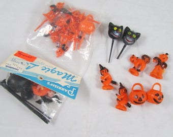 Halloween Cake Toppers Lot Witch Cauldron Plastic Parrish's Some NIP Vintage 1981