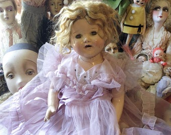 Vintage composition doll sleep blink eye girl Shirley Temple style fancy dress