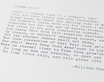 Real Typewriter – Any Shakespeare Sonnet