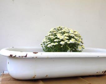 Antique Enamel Baby Bath   White Enamel Garden Planter   Indoor Outdoor  Vessel   Bathroom Sink