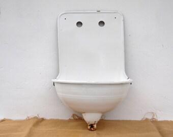 Vintage European Wall Fountain - White Enameled Wall Sink - Vintage Lavabo Garden Sink - Indoor Outdoor Vessel