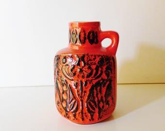 Bay keramik / ceramic handled vase red/black, by Bodo Mans, Germany, WGP