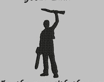 The guy with the gun Machine Embroidery file 5x7 hoop, Evil dead, Ash,