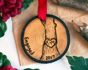 Personalized Engagement Ornament, Engaged Christmas Ornament, Wood Slice Ornament, Wooden Christmas Ornament, Christmas Tree Ornament