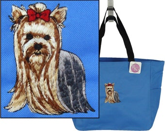 Yorkie Essential Zippered Tote Yorkshire Terrier Doggy Daycare Bag + Pet Name Custom Embroidered