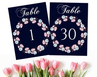 Navy table numbers, boho table numbers, tribal table numbers, table number ideas, gold table numbers, reception numbers, boho table,