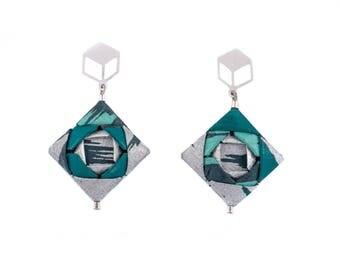 Boucles d'oreilles origami; Bijoux en origami, origami en bijoux; Origami; Bijoux en papier; Papier washi; Japon; Chiyogami; Bijoux tendance