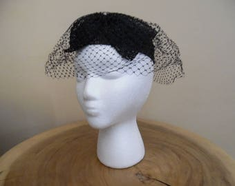 Vintage 1960s I. Offell, San Francisco Black Hat with a Large Bow and Veil; Small Black Fascinator Hat with Large Bow