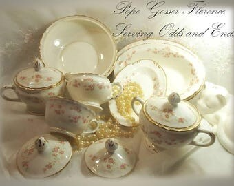 1920s, 1940s, 1950s Serving Odds & Ends, Pope Gosser Florence Sugar Bowl, Round and Oval Vegetable Bowls, Sugar Bowl Lids, Creamer, Relish