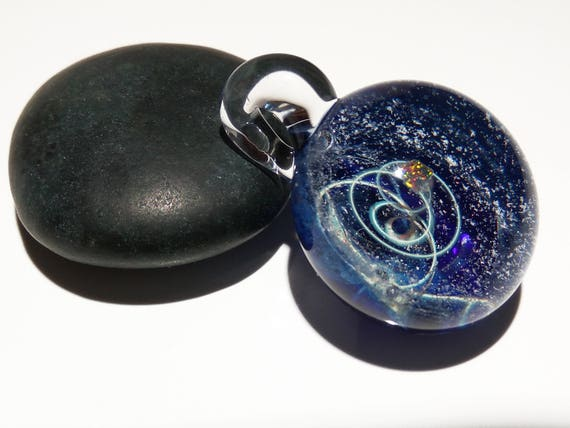 Blown Glass Pendant - Infinite Stars Space Scene - Neurology Gift - Trending Now Art - Science Jewelry - Best Seller -Necklace -Neuroscience