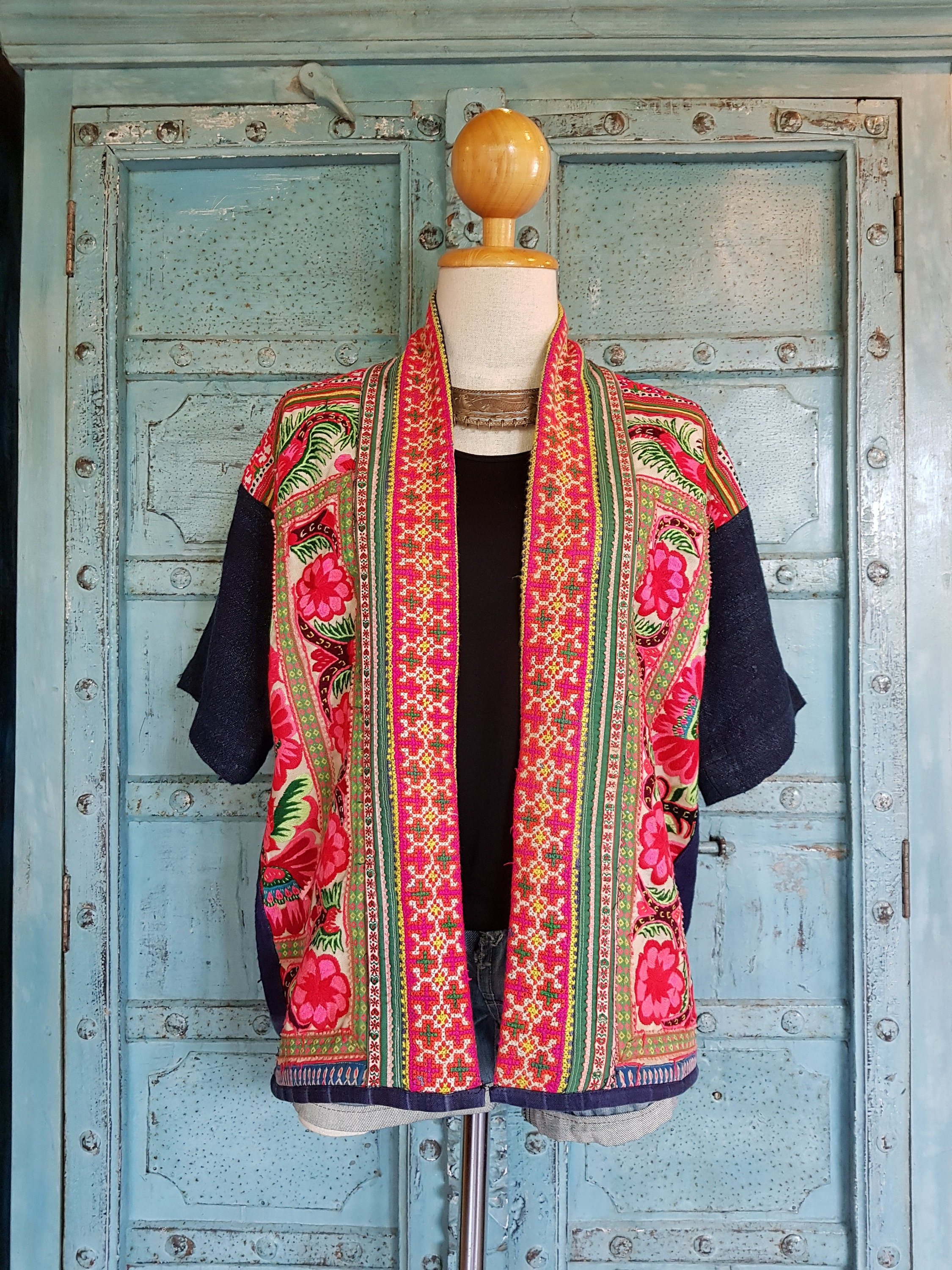 Vintage hemp embroidery open jacket upcycled hippy boho hmong