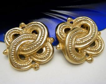 Signed MUSI Vintage Shoe Clips Gold Tone Knot Design