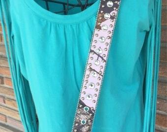 """Detachable pink camoflage  western belt  purse shoulder strap 49"""""""