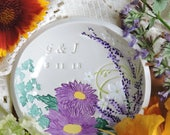 Personalized Wedding Ring Holder - Flower Garden Wedding Ring Dish - Engagement Ring Holder - Gift for Bride - Engagement Ring Dish