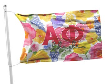 Alpha Phi flag, Hot pink flowers with yellow print, 3 x 5 feet Polyester,  Sorority gift, APhi Dorm decor Room decoration Wall art