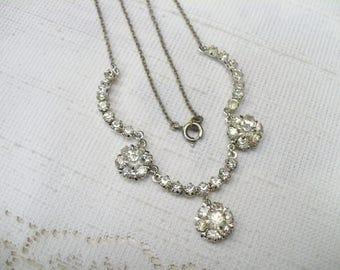 True Vintage Authentic 1930s Art Deco Rhinestone Necklace - silver tone metal - Prong set stones -WEDDING necklace-GATSBY bride - FLAPPER