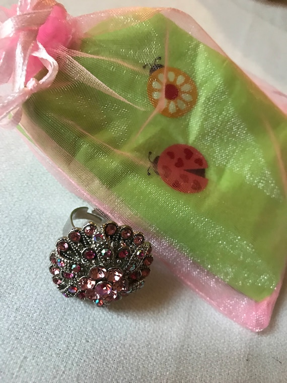 Bling Treat! 10 Dollar Bling goodie this one is a Vintage Pink & Ice Rhinestone  Adjustable Ring A Great Treat Fun Feel Good Gift