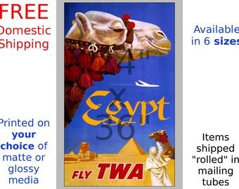 TWA - Egypt - Vintage Airline Travel Poster (491959200)
