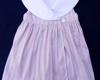 Pink wrapover baby dress with white shawl collar - 3 years old