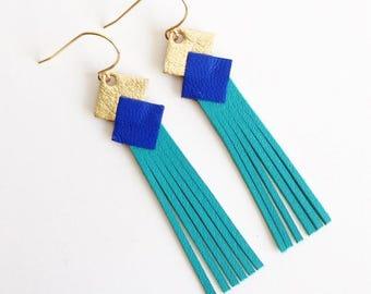 """Boucles d'oreilles Cuir """"mini franges"""" Or-Cobalt-bleu lagon attache plaqué or bijoux femme réalisé a la main personnalisable"""