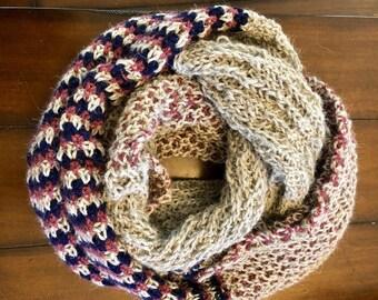 Baby alpaca stitch block infinity scarf