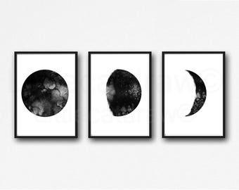 Moon Phase Print Set Of 6 Watercolor Painting Print Lunar Moon