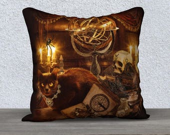 Gothic Wiccan black cat art pillow case