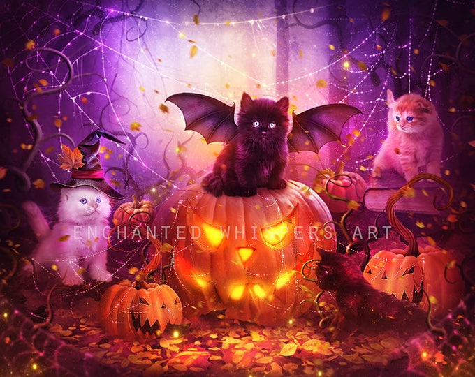 Halloween kittens art print