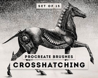 Crosshatching Procreate Brushes - Set of 15 brushes - For the iPad app Procreate - Digital brushes - Digital art resources