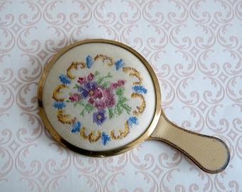 Small Vintage Hand Mirror - Petit Point Embroidered Flowers - Handbag