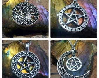 Wiccan jewelry Tree of life pentacle silver necklace  - Celtic Wicca jewellery - rune necklace - pagan witch talisman Yule