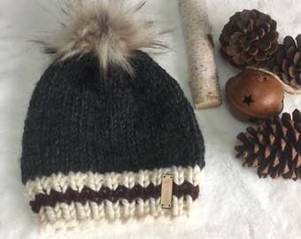 Sock Monkey Style Winter Hat With Faux Fur Pom Pom