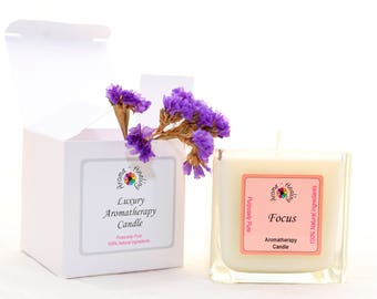 Luxury Focus Candle | Boxed Candle | Friend Gift | Study Candle | Natural Soy Candles | Aromatherapy Candle | Best Luxury Candle