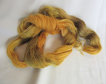 Hand Dyed/Painted - Yellow/Gold/Olive - 3 Ply Fingering Weight Alpaca Yarn - Grade 2- Superfine - 2.0 oz. - 200 Yds - 19-22 WPI
