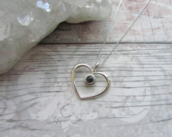 Blue Sapphire Silver Heart Pendant - 925 Sterling Silver Pendant Necklace Natural - Blue Gemstone Jewellery