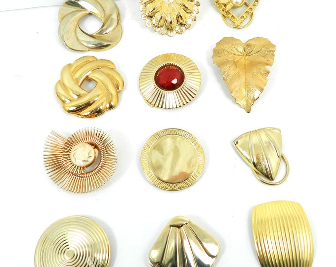 Vintage Scarf Clip Slide Lot (12) pieces, lot of twelve scarf clips, 1950s 1960s 1970s 1980s, gold tone scarf clips, various shapes, womens