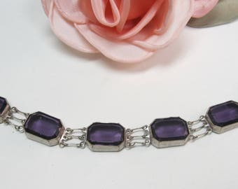 Antique vintage purple rhinestone link bracelet 7""