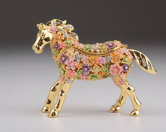 Gold with Colorful Flowers Horse Handmade Faberge Styled Trinket Box Handmade by Keren Kopal Enamel Painting