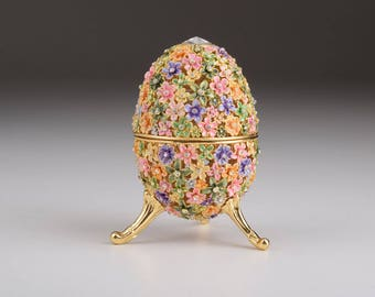 Gold with Colorful Flowers Easter Egg Handmade Faberge Styled Trinket Box with Swarovski Crystals Home Decor Collectors Box Russian Egg