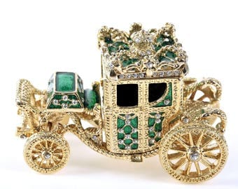 Golden Green Carriage Handmade Trinket Box by Keren Kopal Faberge Style Decorated with Swarovski Crystals