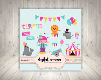Big Top Circus Clipart Set, Circus Clown, Carnival, Fair Clipart, .PNG, Personal & Commercial Use, Instant Download!