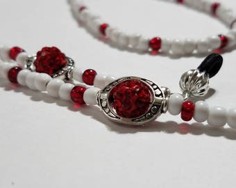 Eyeglass Chain, Beaded Eye Glasses Chain, Valentine Red, Sunglasses Holder, Beaded Eyewear Holder