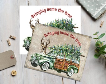 Vintage Digital Christmas Car, Wood background, Woody Wagon, Xmas Tree, Reindeer, Christmas Pillow, Christmas Transfer, Christmas Crafts