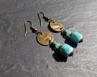 "Earrings ""Sao"" Czech glass and brass"