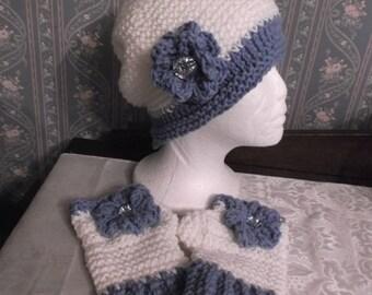 Pretty Blue/White Handmade Knitted/Crochet Slouch Hat And Fingerless Gloves