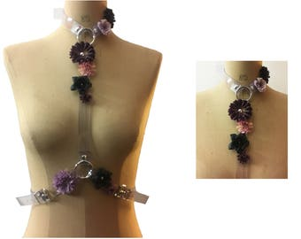 Harness in Transparent PVC with flowers