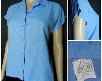 70s 80s cotton chambray sky blue button down cap sleeve blouse U.K. 12 - 14 m