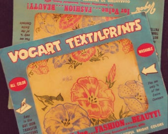 Two Packs of No. 82  Vogart Textilprints.  All Color Washable. Unused. Floral Themed.